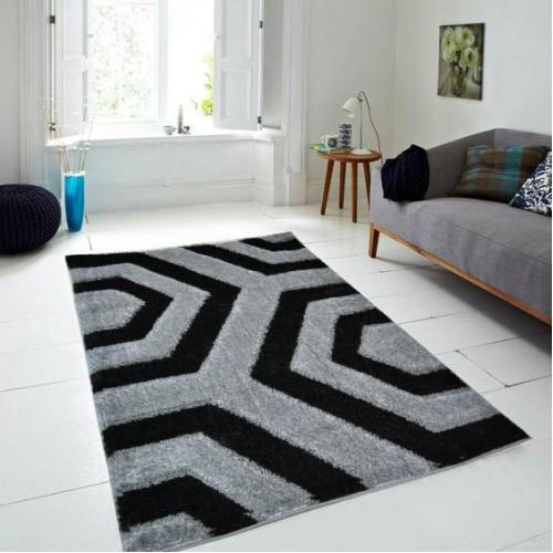 Χαλιά shaggy 3D Grey-Black 9349-4  100x120cm