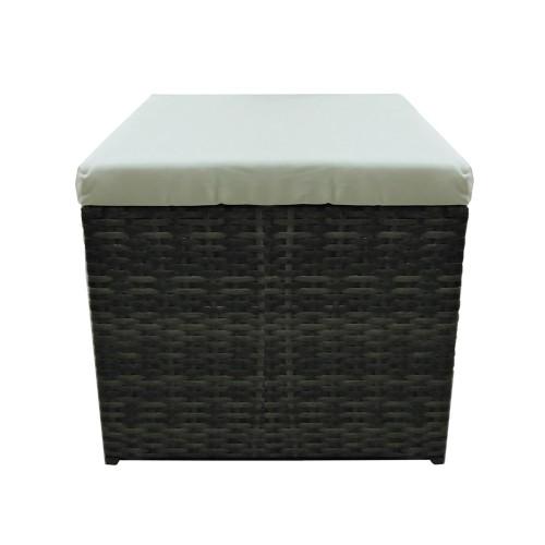 Σκαμπό από σκελετό αλουμινίου με επένδυση Rattan σε χρώμα Καφε με μπεζ μαξιλαρι 5214