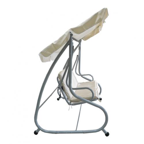 Aigaia Κούνια-κρεβάτι κήπου Swing μεταλλική με ασημι σκελετο με μαξιλάρια μπεζ 195x120x164cm 0789-2
