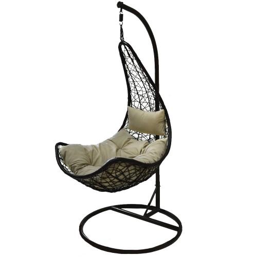 Κούνια Κήπου-Βεράντας Πολυθρόνα αιώρα Σαντορίνη Καφέ με μπεζ μαξιλάρι 1151-2  Dark Brown