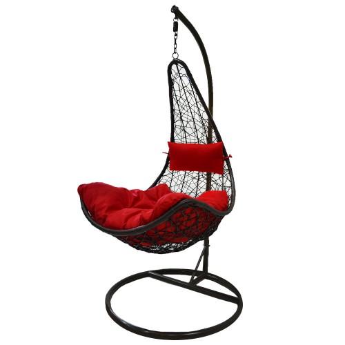Κούνια Κήπου-Βεράντας Πολυθρόνα αιώρα Σαντορίνη Καφέ με κόκκινο μαξιλάρι 1151-1 Dark Brown