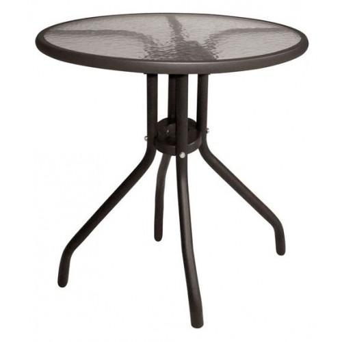 Τραπέζι  στρογγυλό Lima μεταλλικό 60x60x70cm έπιπλα κήπου-βεράντας καφε tb1001-1